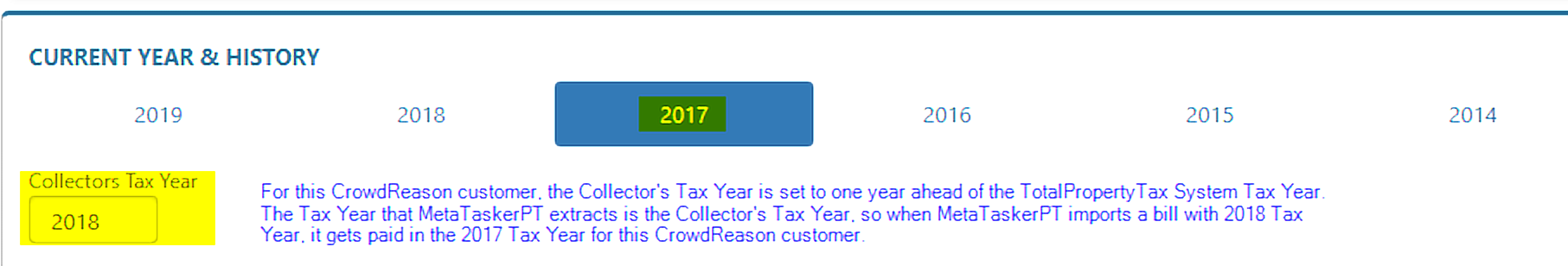 Example of setting the Collector's Tax Year one year ahead of the TotalPropertyTax system tax year