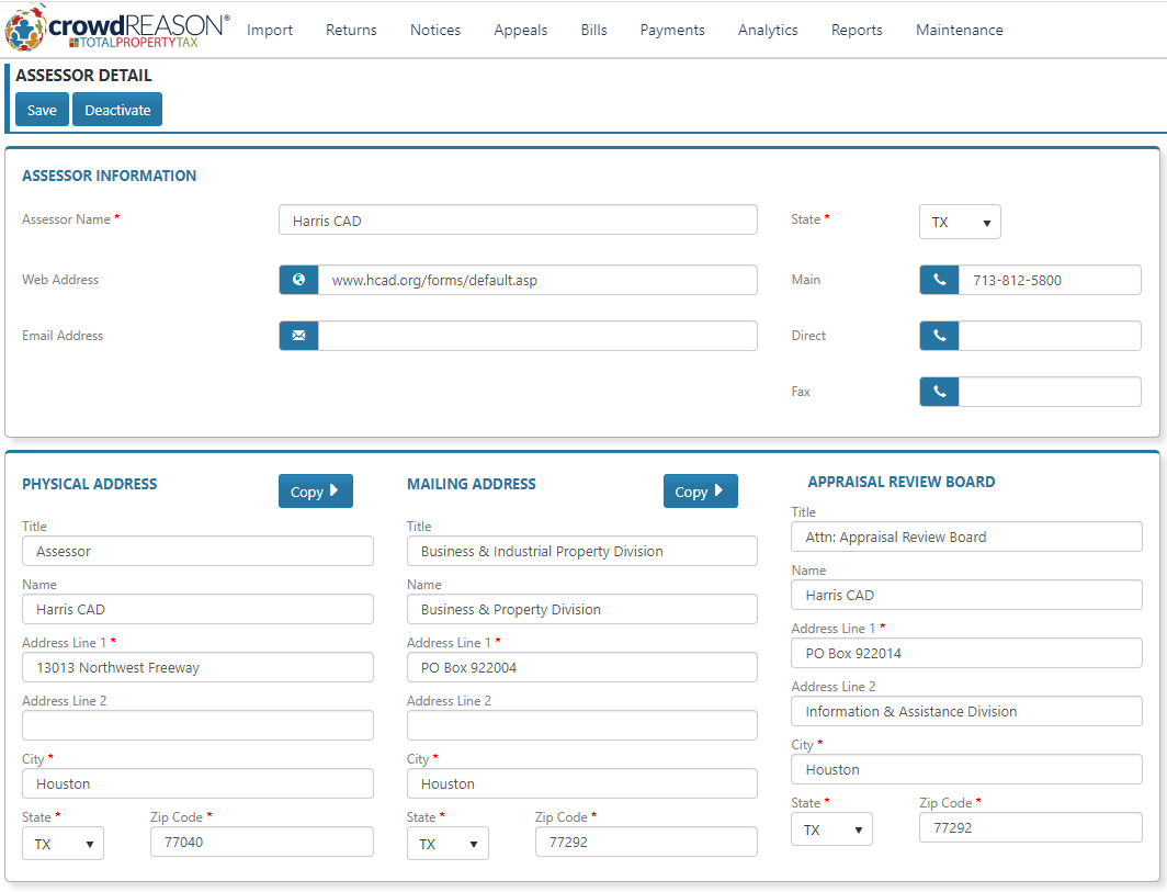 CrowdReason's database showing assessor information
